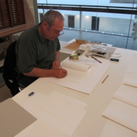 Eugene Carchesio making 'Thief of Light' (2010) at the SLQ Conservation department